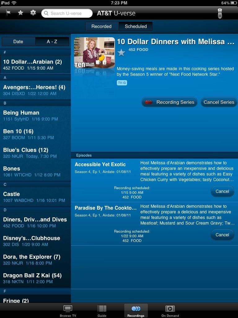 Att U Verse Ipad App Review Tasels Ramblings Uverse Record